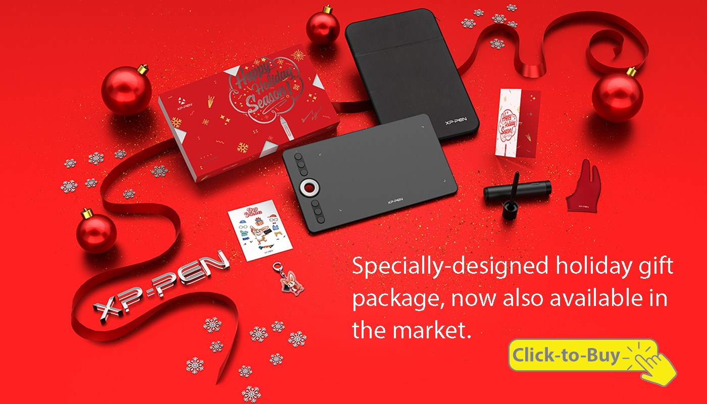 XP-Pen Deco 02 3d art tablet holiday gift design package