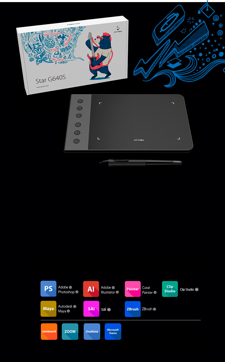 XP-Pen Star G640S drawing tablet without screen Compatible with Windows and Mac OS